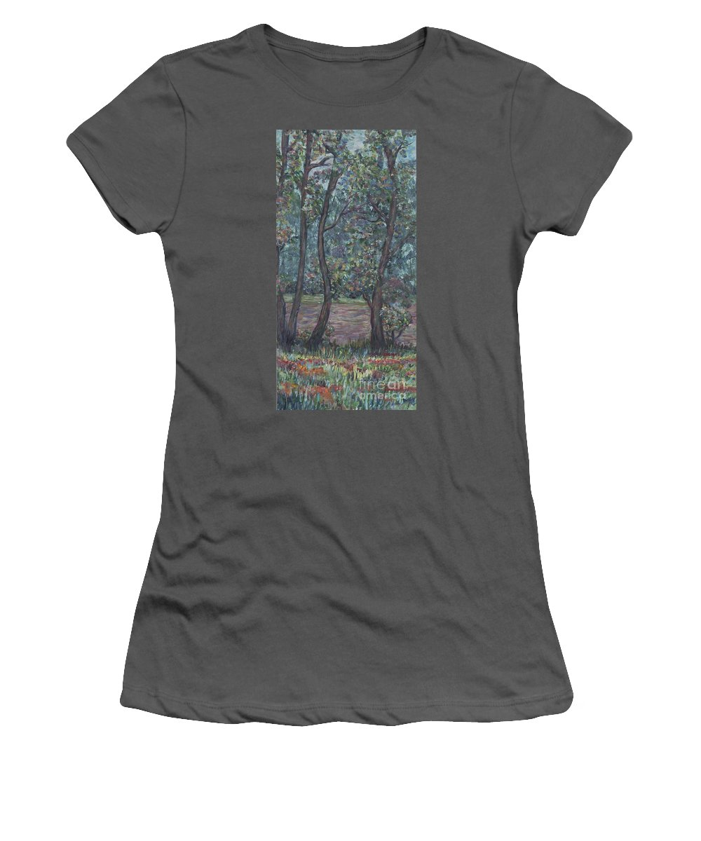 Landscape Women's T-Shirt (Athletic Fit) featuring the painting Provence Flowers by Nadine Rippelmeyer