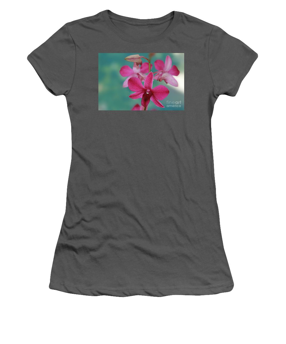 Aloha Women's T-Shirt (Athletic Fit) featuring the photograph Puanani Kealoha Dendrobium D Burana Red Flame Hawaiian Orchid by Sharon Mau