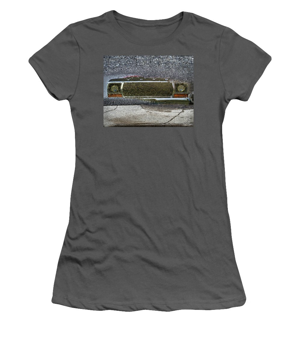 Rain Women's T-Shirt (Athletic Fit) featuring the photograph Puddle Reflections by Joseph Yvon Cote