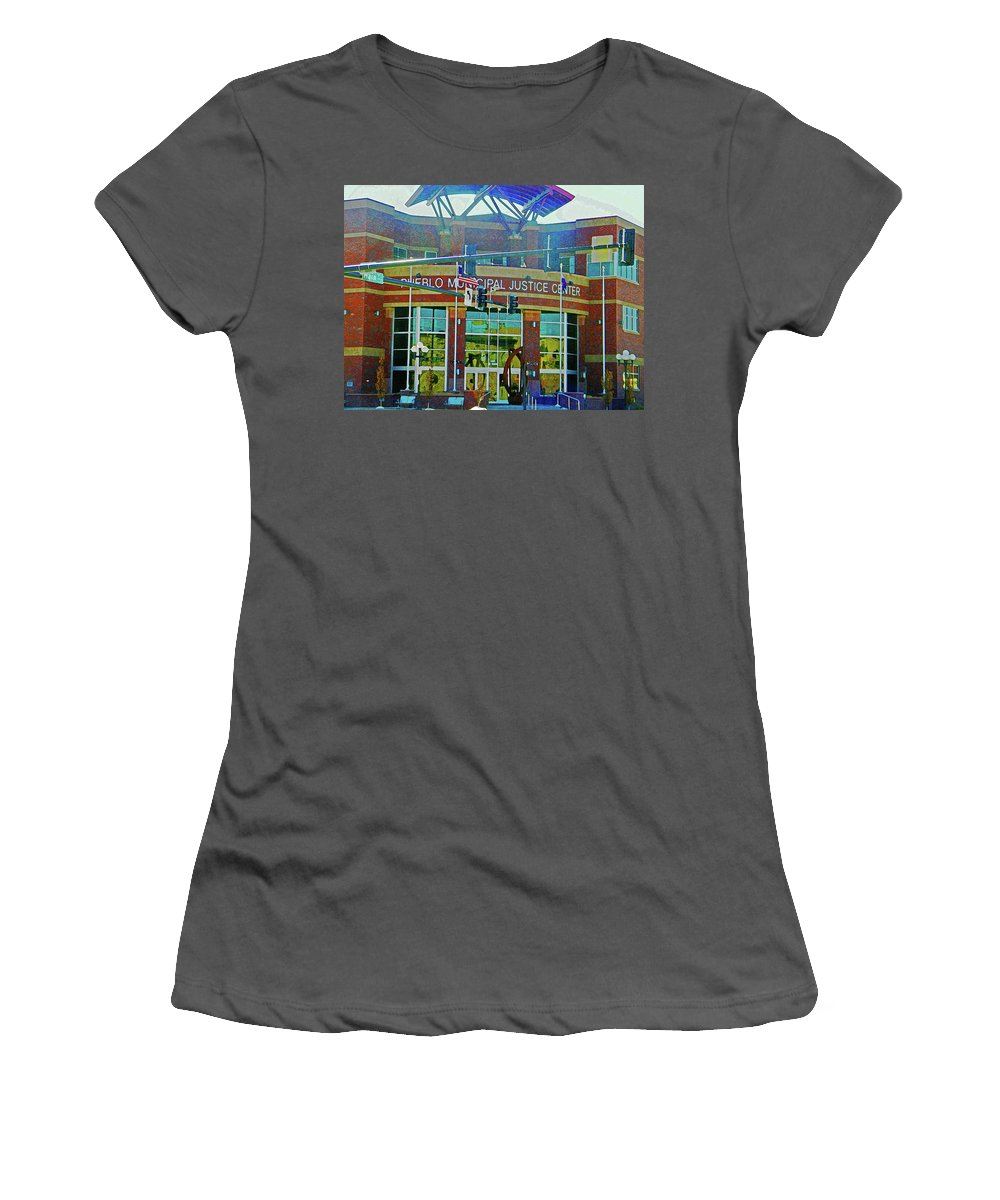 Abstract Women's T-Shirt (Athletic Fit) featuring the photograph Pueblo Municipal Justice Center by Lenore Senior
