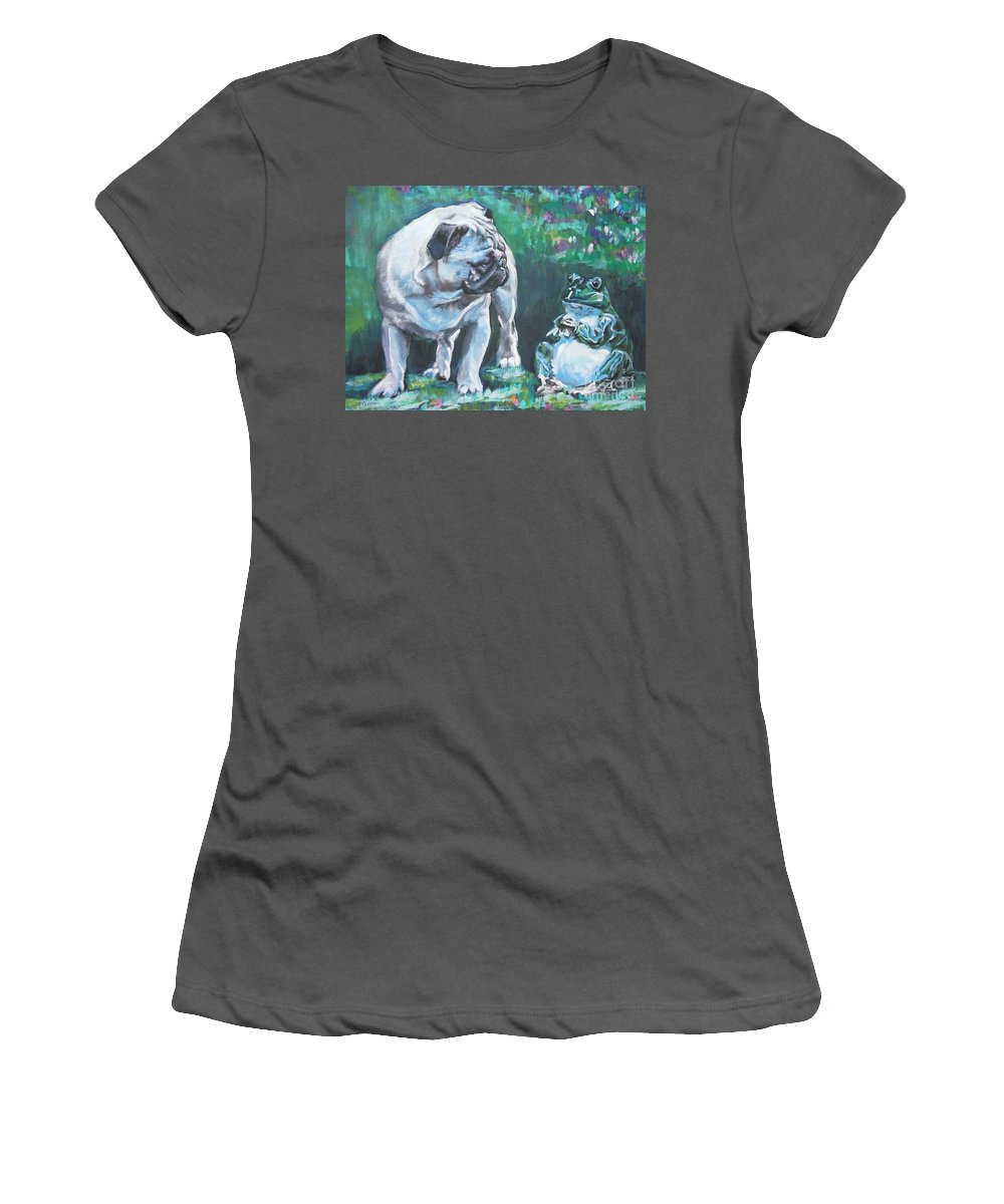 Dog Women's T-Shirt (Athletic Fit) featuring the painting Pug Fawn With Frog by Lee Ann Shepard