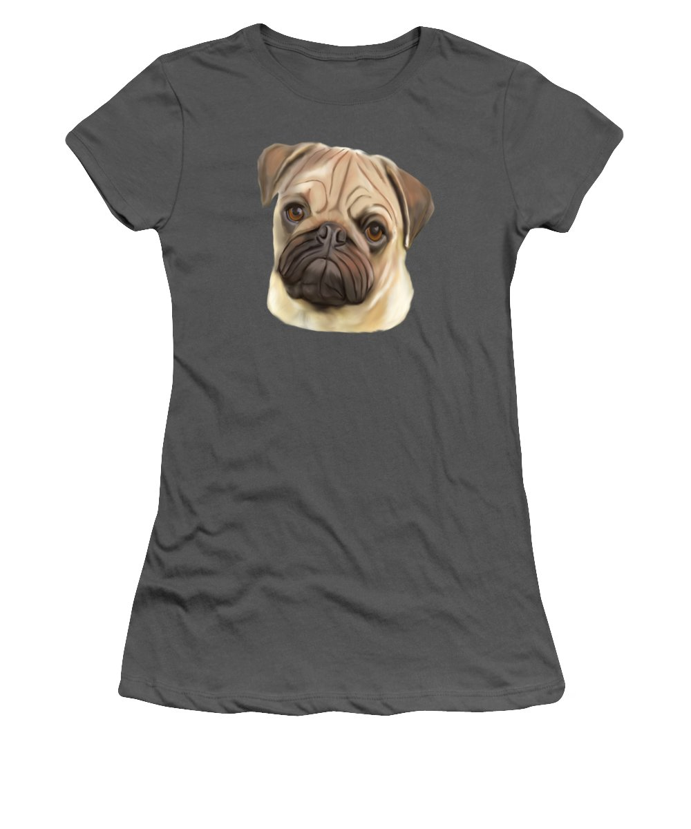 Pug Women's T-Shirt (Athletic Fit) featuring the painting Pug Puppy by Karen Harding