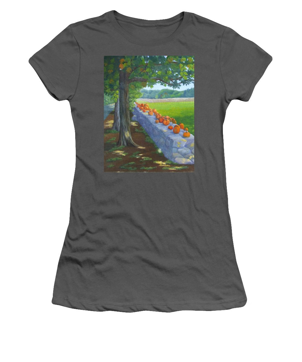 Pumpkins Women's T-Shirt (Athletic Fit) featuring the painting Pumpkin Muster by Sharon E Allen