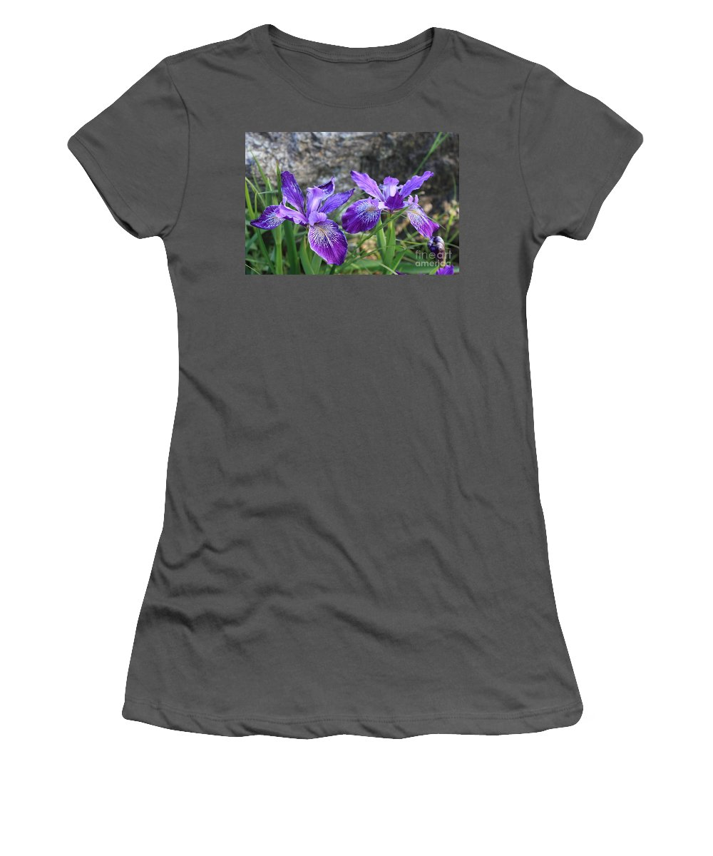 Purple Women's T-Shirt (Athletic Fit) featuring the photograph Purple Irises With Gray Rock by Carol Groenen