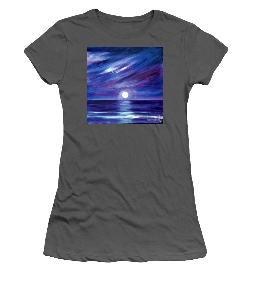 Sea Women's T-Shirt (Athletic Fit) featuring the painting Purple Night by Caroline Peacock