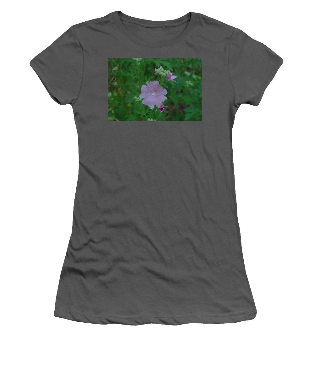 Purple Women's T-Shirt (Athletic Fit) featuring the photograph Purple Wild Flower by Alice Markham