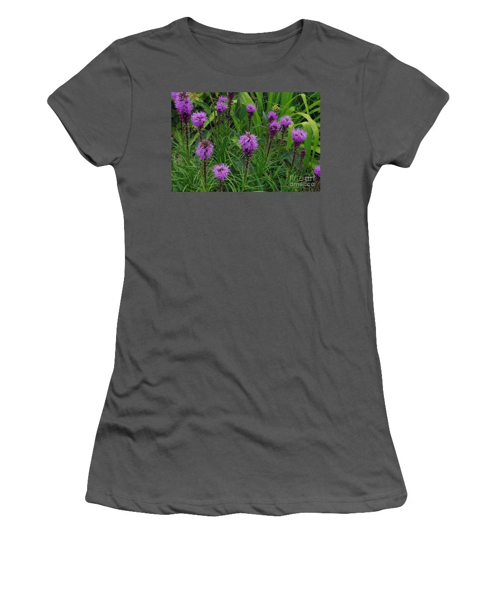 Purple Women's T-Shirt (Athletic Fit) featuring the photograph Purple Wildflowers by Alice Markham