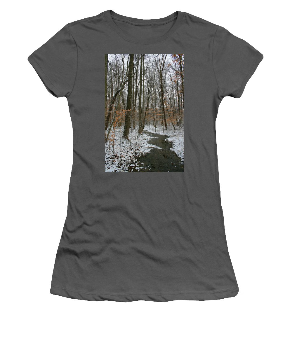 Forest Woods Water Winter Tree Snow Cold Season Nature Women's T-Shirt (Athletic Fit) featuring the photograph Quite Path by Andrei Shliakhau