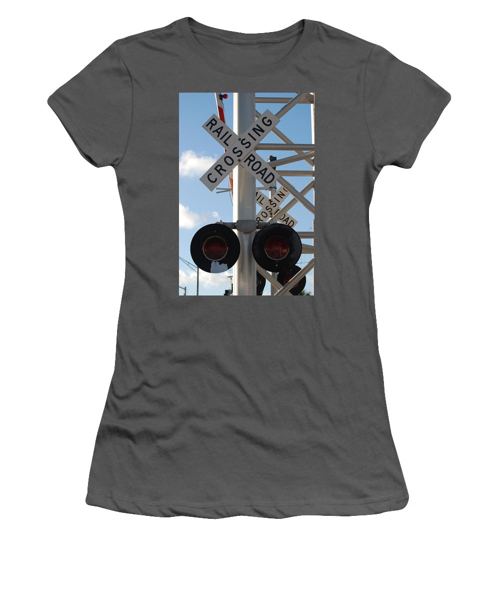 Train Women's T-Shirt (Athletic Fit) featuring the photograph R X R Crossing by Rob Hans
