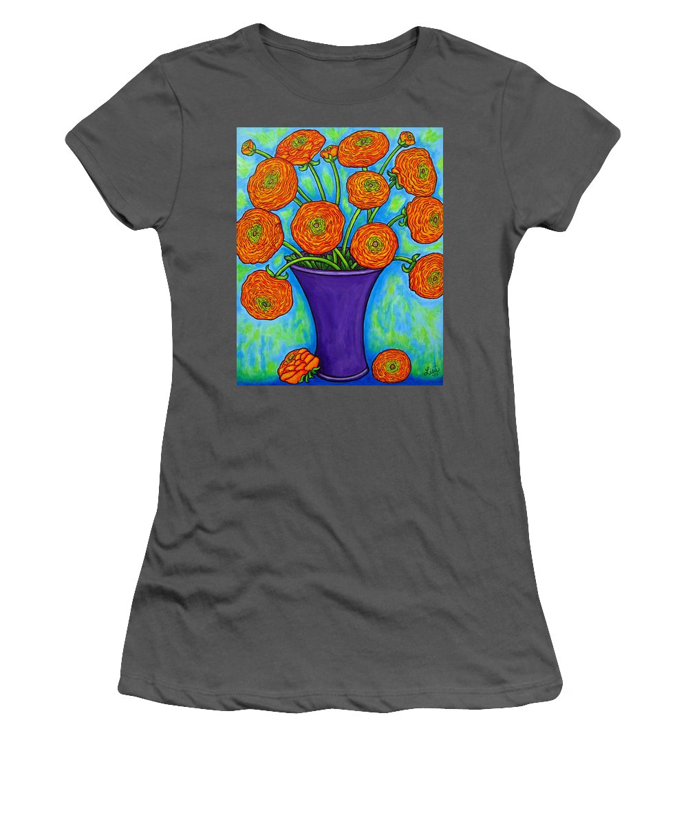 Green Women's T-Shirt (Athletic Fit) featuring the painting Radiant Ranunculus by Lisa Lorenz