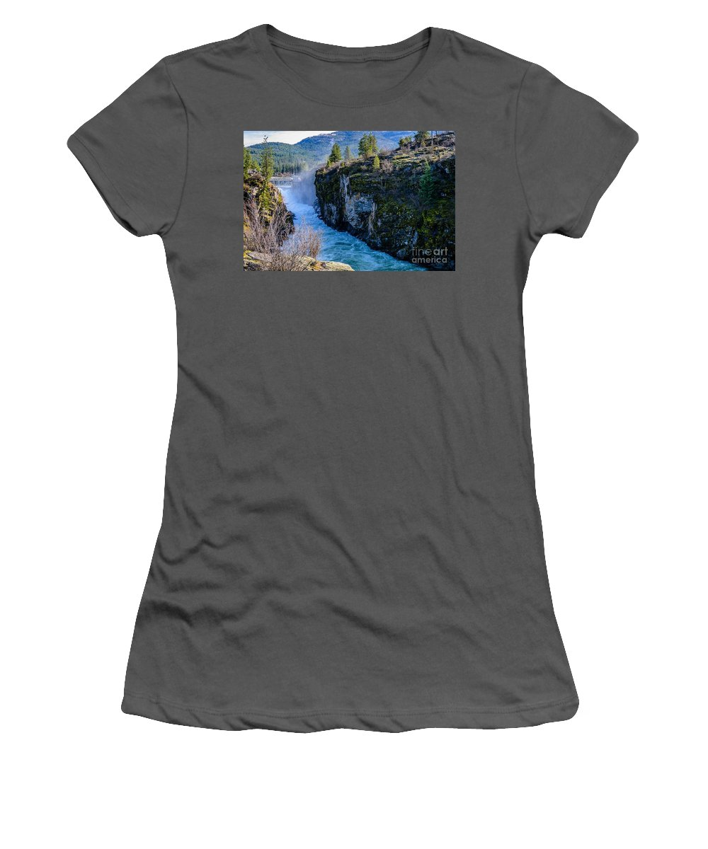 Post Falls Dam Women's T-Shirt (Athletic Fit) featuring the photograph Raging River by Sam Judy