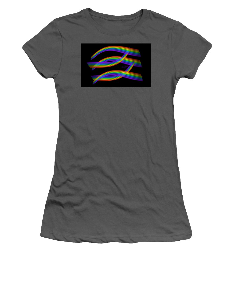 Trout Women's T-Shirt (Athletic Fit) featuring the digital art Rainbow Trout by Charles Stuart