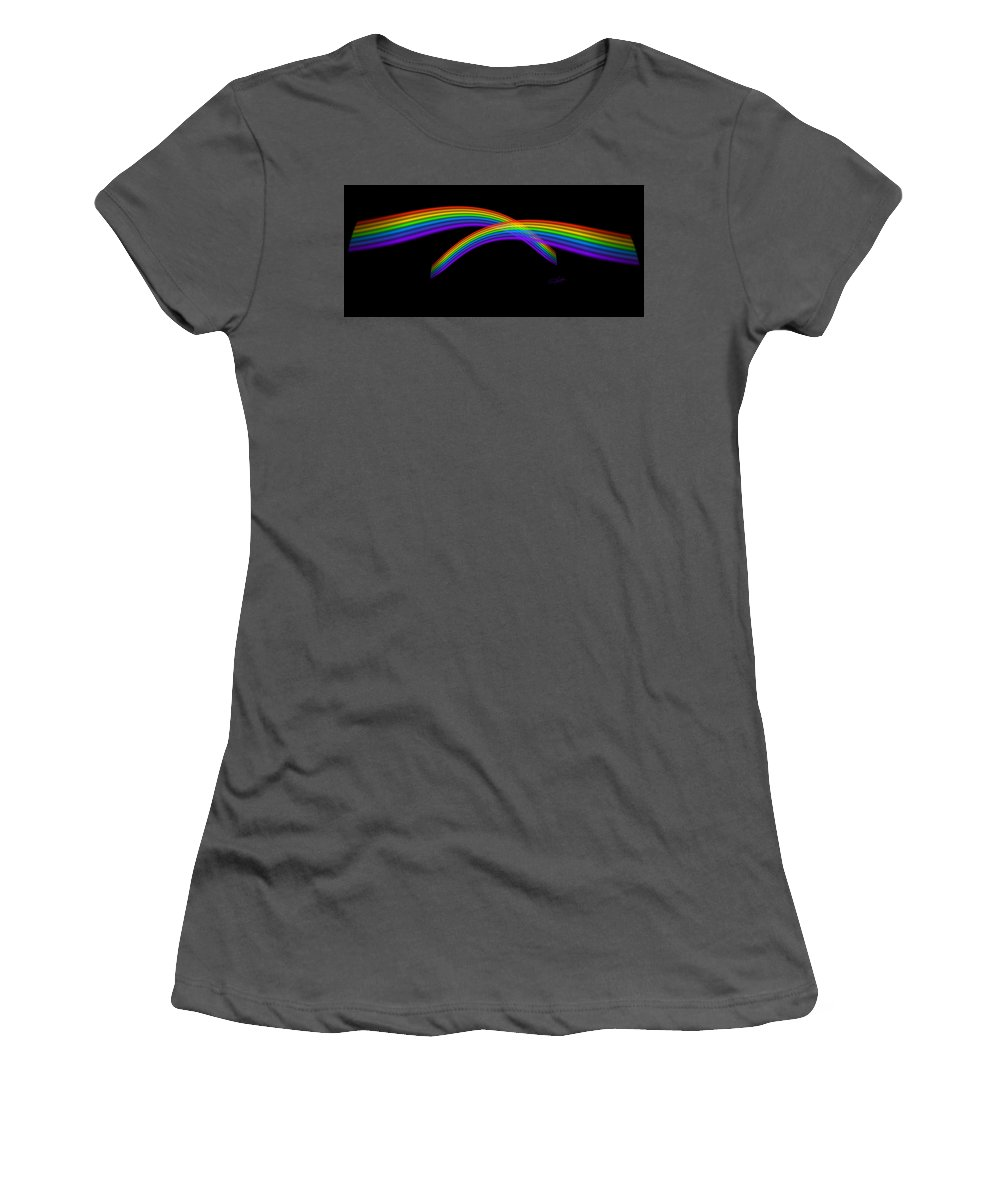 Rainbow Women's T-Shirt (Athletic Fit) featuring the digital art Rainbow Waves by Charles Stuart