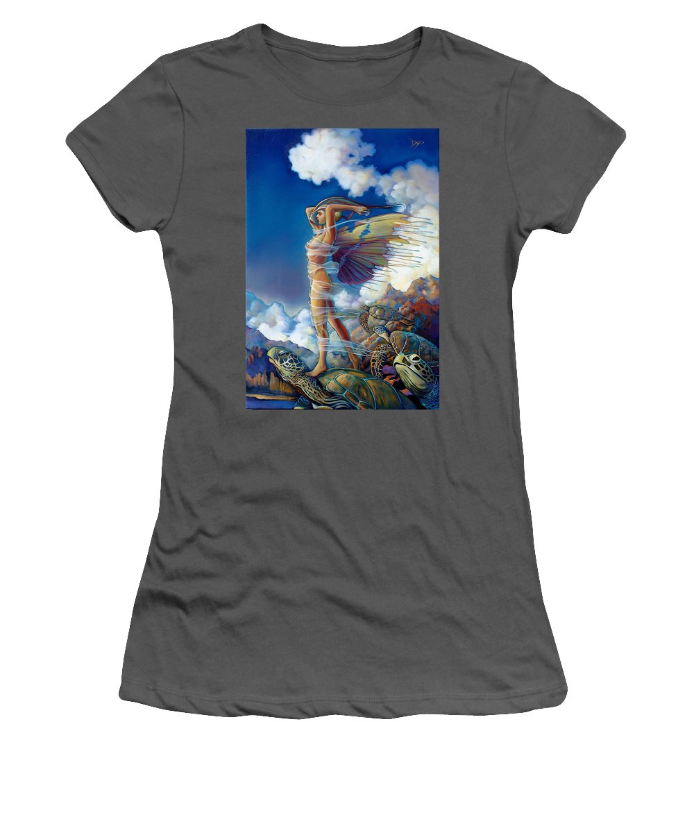 Mermaid Women's T-Shirt (Athletic Fit) featuring the painting Rapture And The Ecstasea by Patrick Anthony Pierson