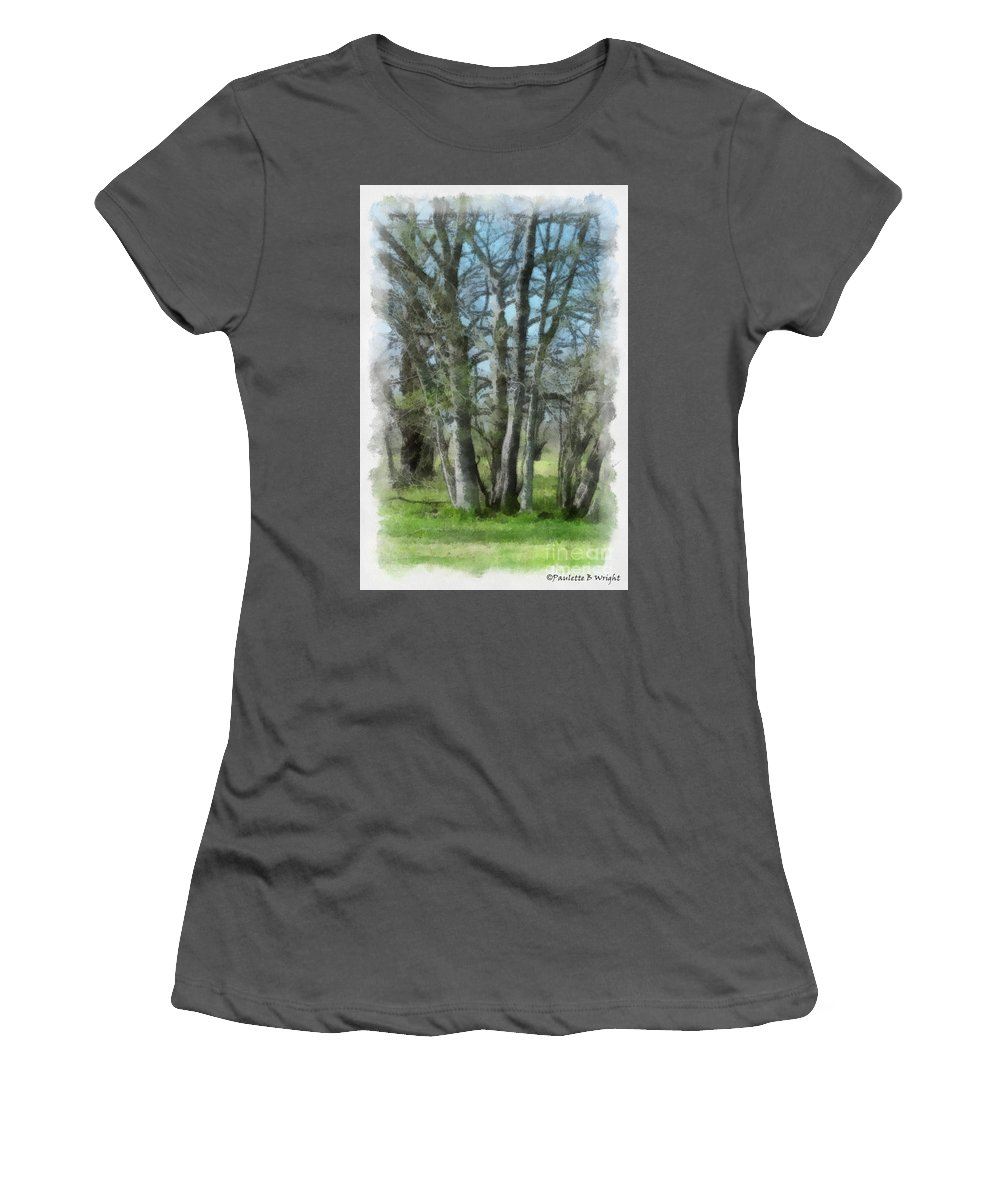 Trees Women's T-Shirt (Athletic Fit) featuring the photograph Reaching Toward Him by Paulette B Wright