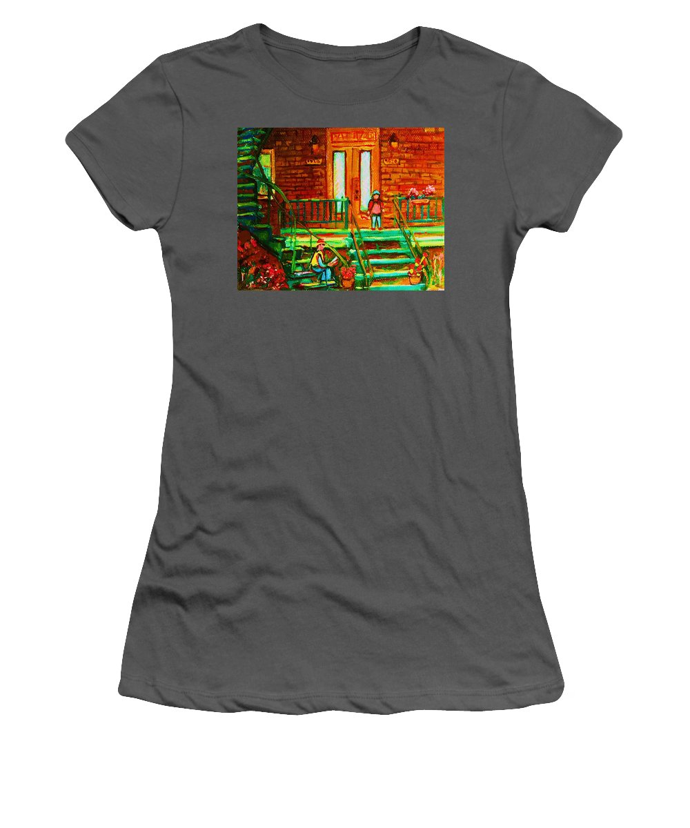 Stairways Women's T-Shirt (Athletic Fit) featuring the painting Reading On The Steps by Carole Spandau