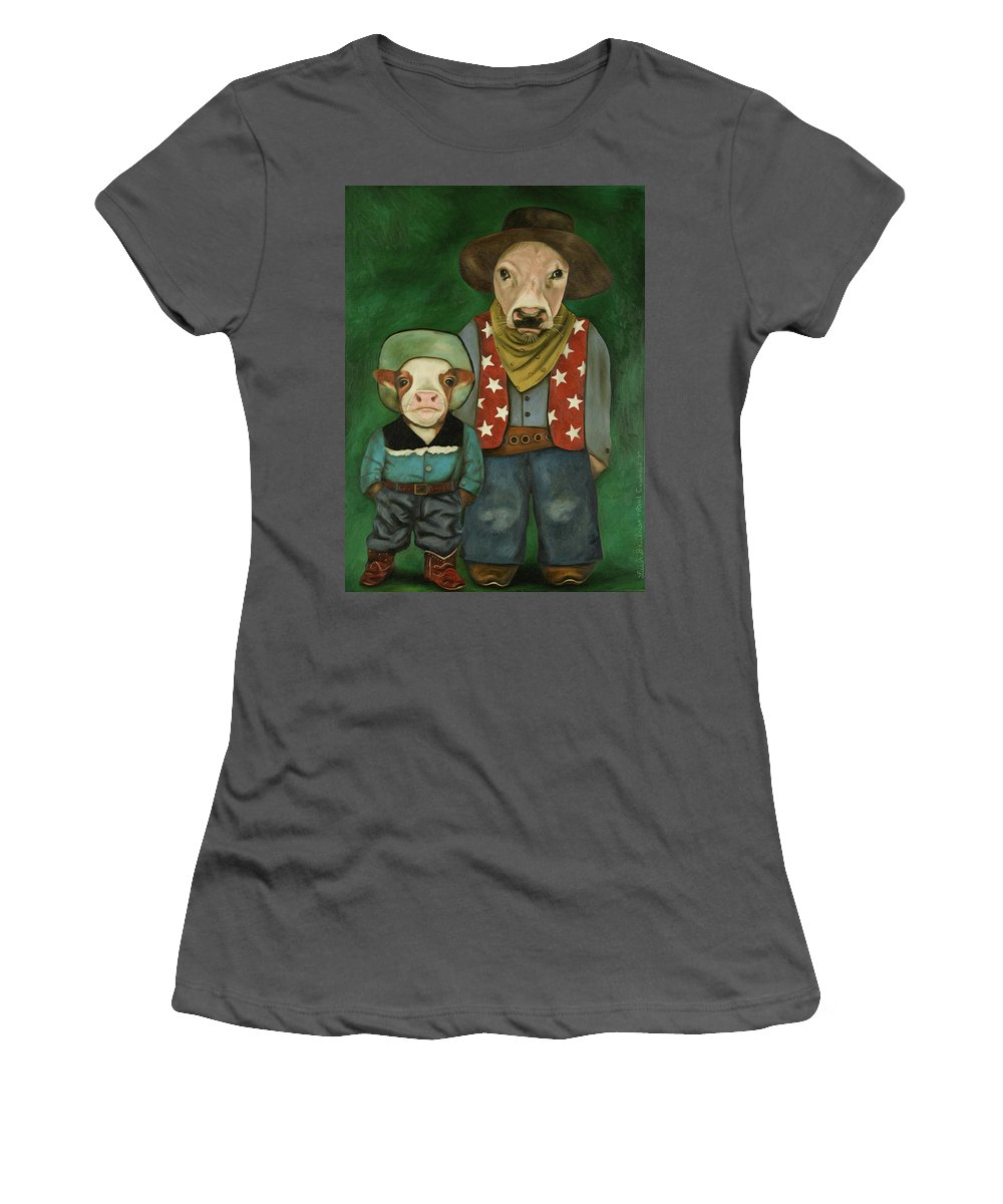 Real Cowboys Women's T-Shirt (Athletic Fit) featuring the painting Real Cowboys 3 by Leah Saulnier The Painting Maniac