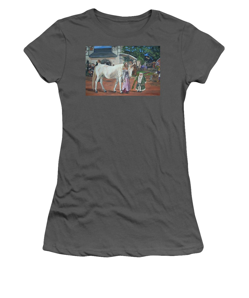 Renaissance Women's T-Shirt (Athletic Fit) featuring the painting Real Life In Her Dreams by Bryan Bustard