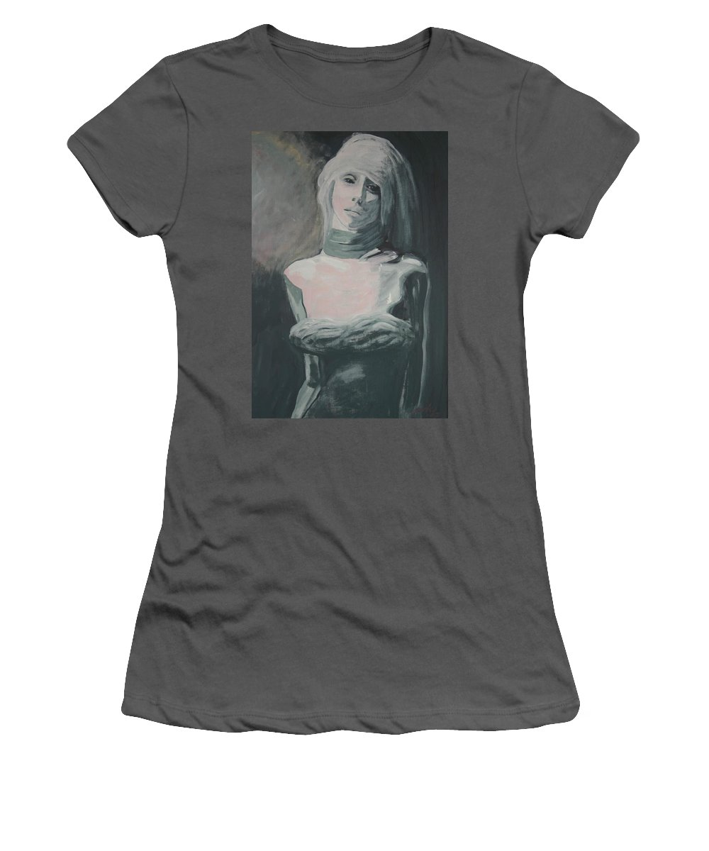 Portrait Women's T-Shirt (Athletic Fit) featuring the painting Real Love Is Hard To Find by Jarmo Korhonen aka Jarko