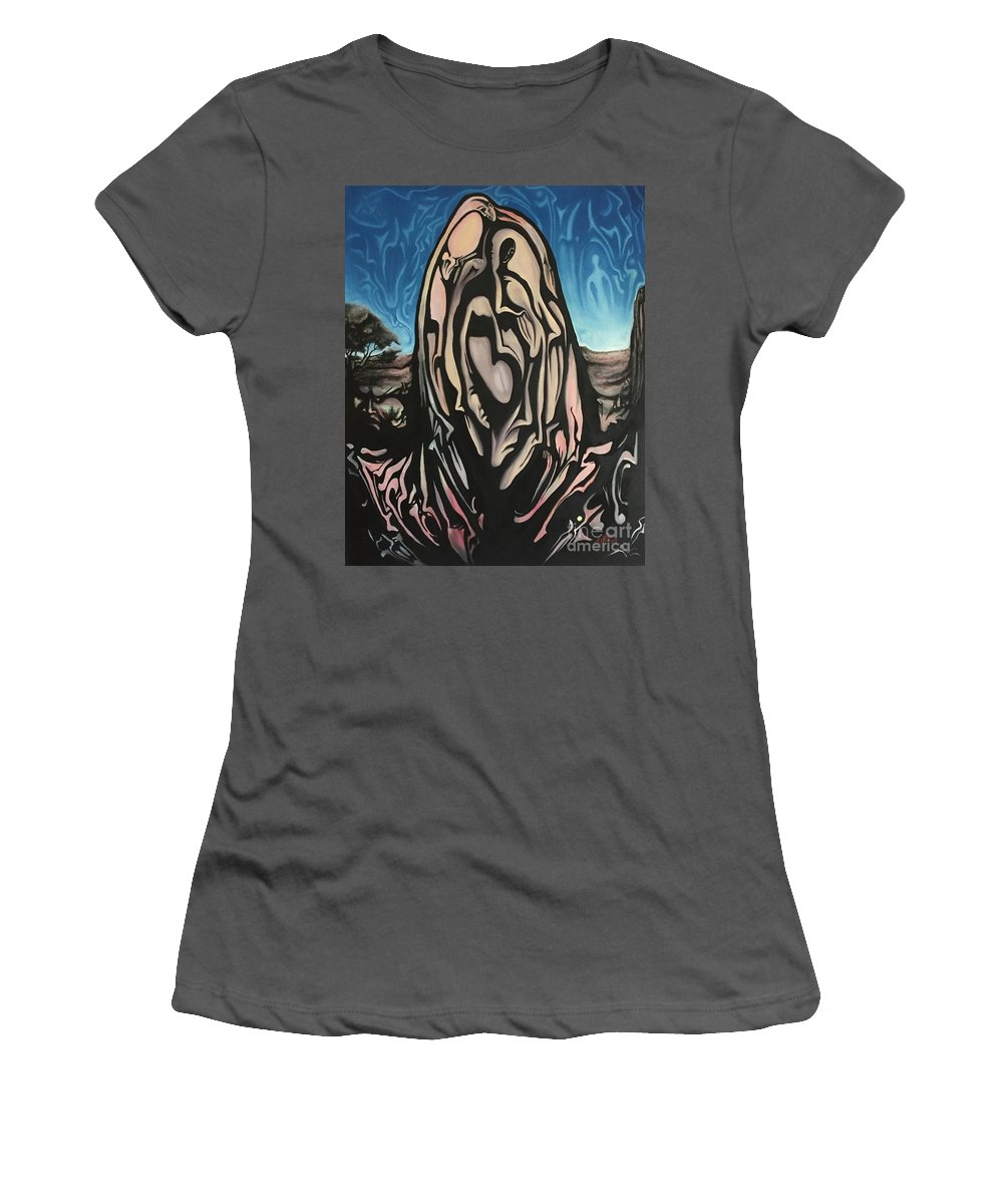 Tmad Women's T-Shirt (Athletic Fit) featuring the painting Recluse by Michael TMAD Finney