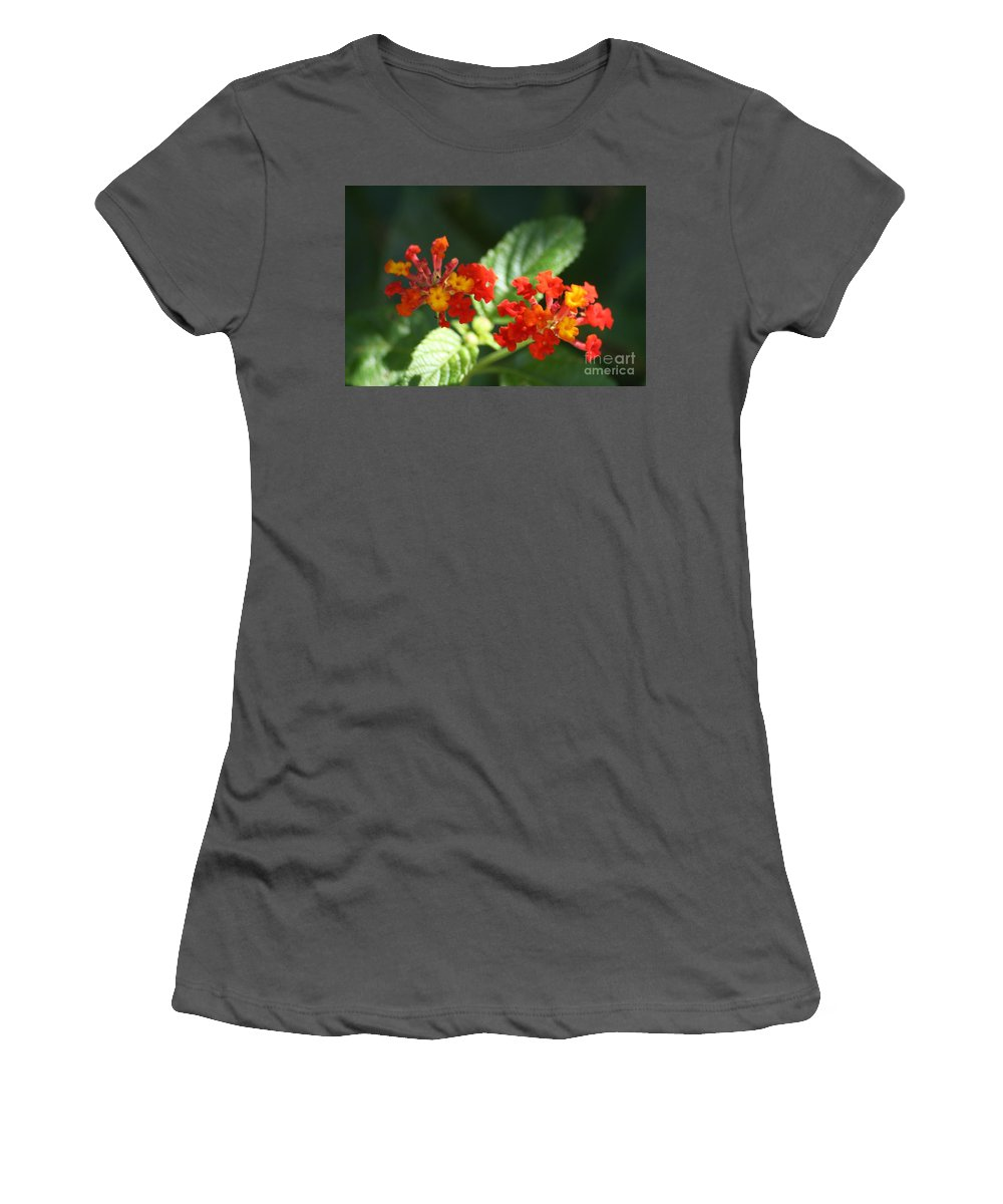 Red Women's T-Shirt (Athletic Fit) featuring the photograph Red And Orange Lantana by John W Smith III