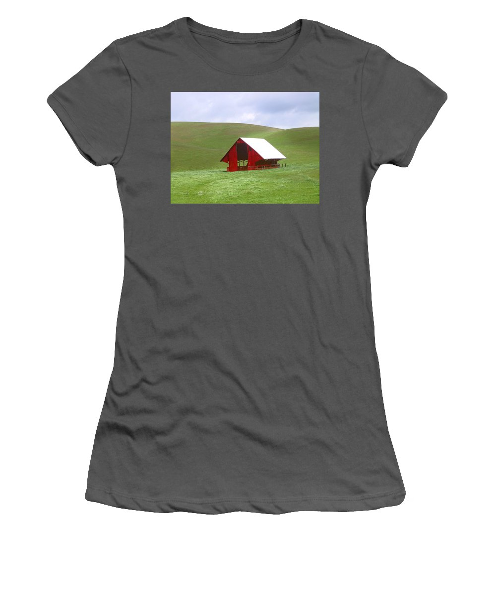 Landscape Women's T-Shirt (Athletic Fit) featuring the photograph Red Barn In Spring by Karen W Meyer