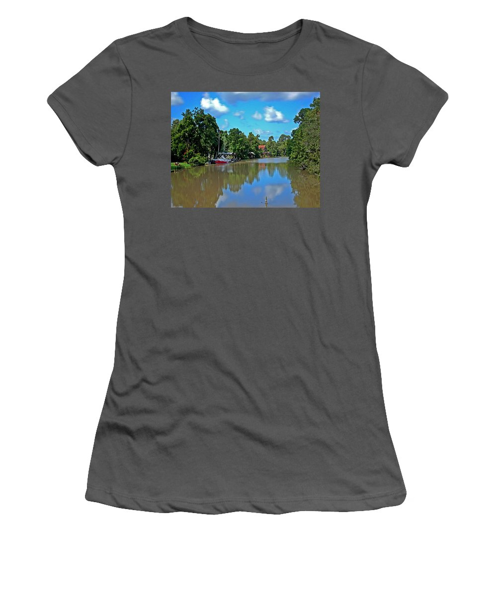 Sailboat Women's T-Shirt (Athletic Fit) featuring the painting Red Boat And The Magnolia River by Michael Thomas