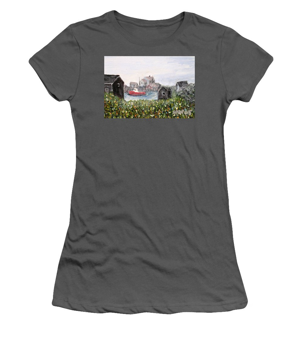 Red Boat Women's T-Shirt (Athletic Fit) featuring the painting Red Boat In Peggys Cove Nova Scotia by Ian MacDonald