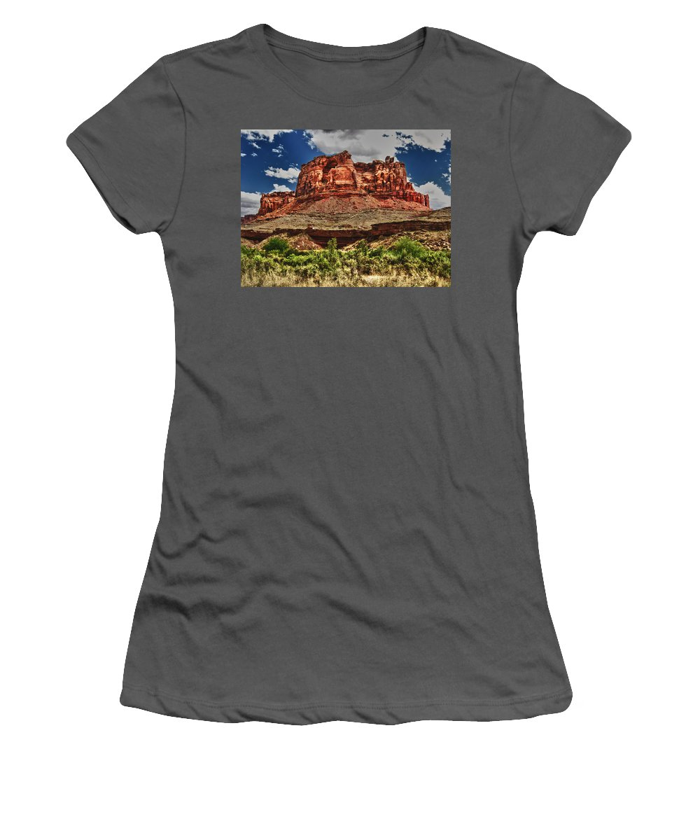 High Women's T-Shirt (Athletic Fit) featuring the digital art Red Butte by Gary Baird
