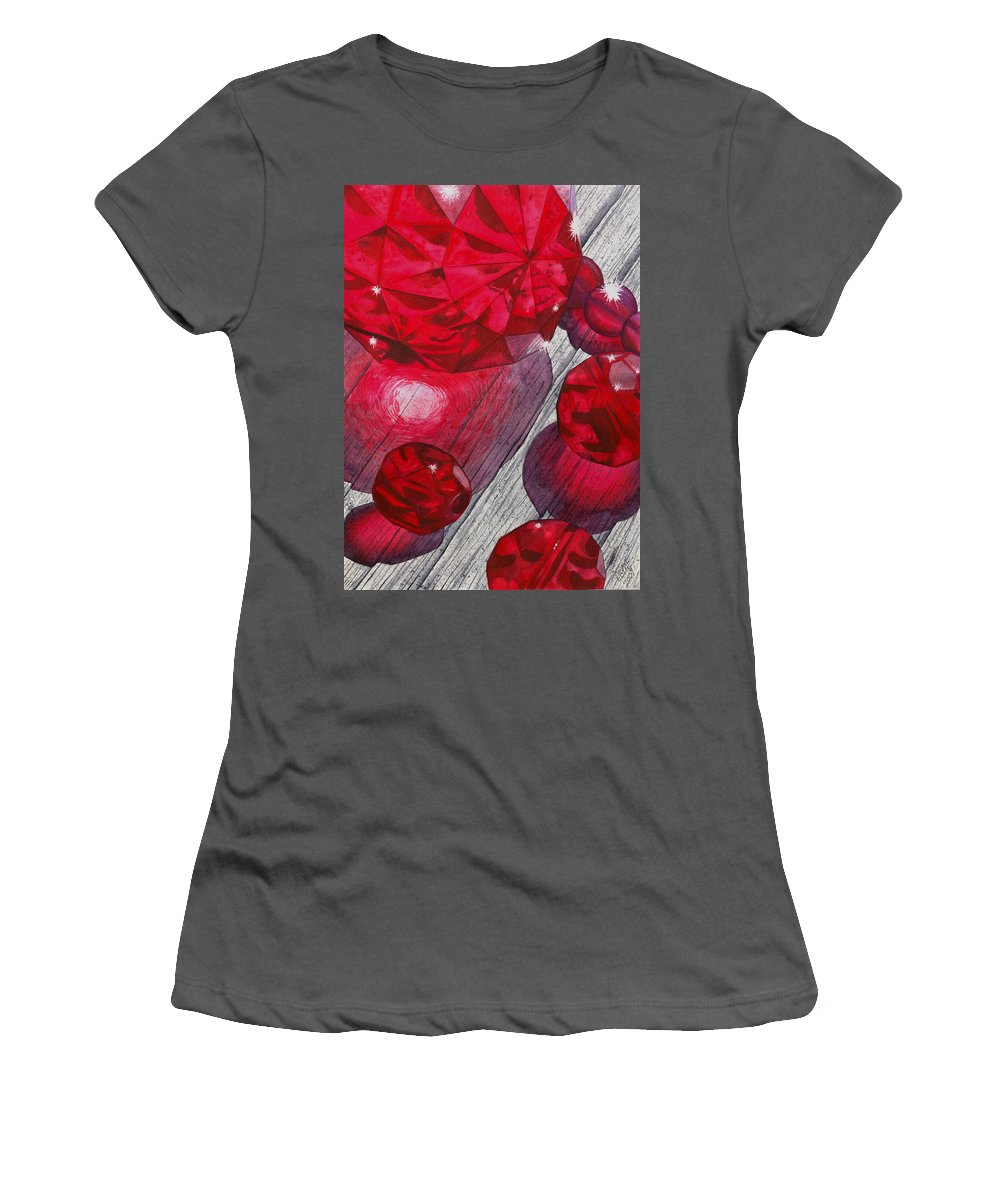 Red Women's T-Shirt (Athletic Fit) featuring the painting Red by Catherine G McElroy