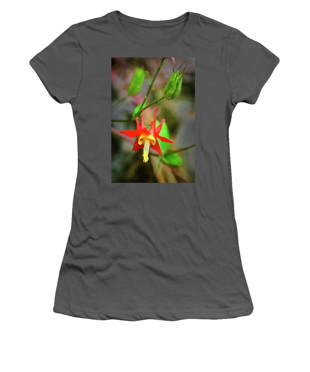 Red Women's T-Shirt (Athletic Fit) featuring the photograph Red Columbine by Albert Seger