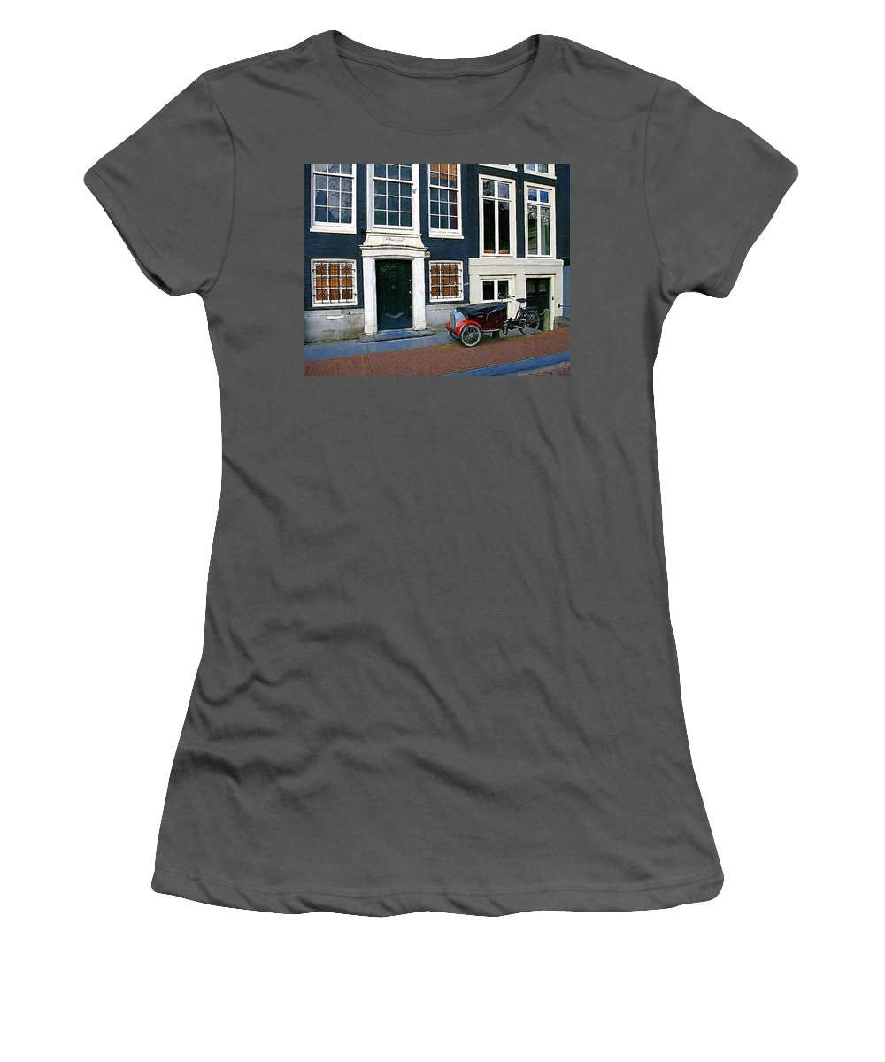 Bike Women's T-Shirt (Athletic Fit) featuring the photograph Red Fender Bike by Tom Reynen