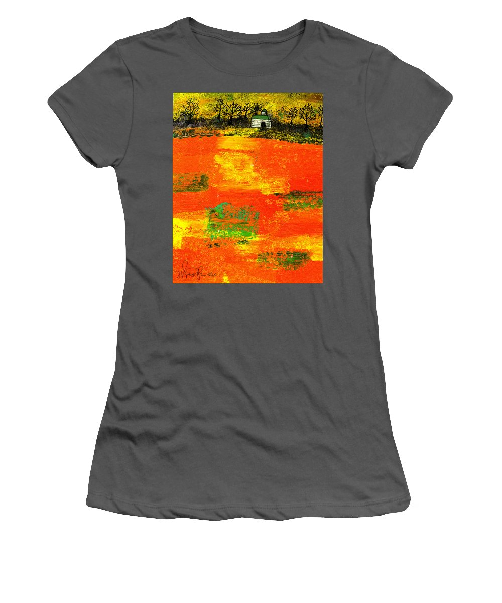 Rural Women's T-Shirt (Athletic Fit) featuring the painting Red Fields by Wayne Potrafka