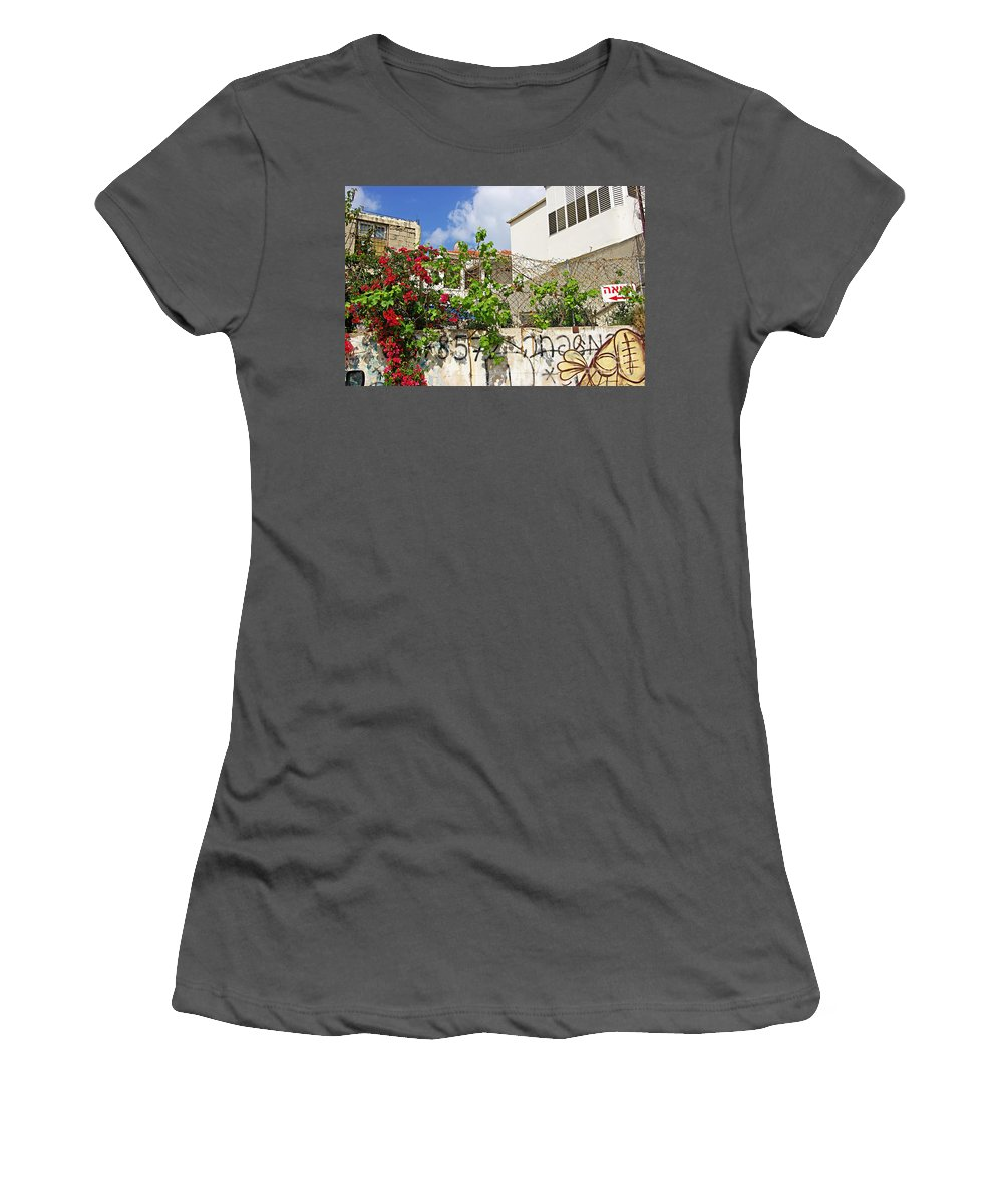 Red Women's T-Shirt (Athletic Fit) featuring the photograph Red Flowers On A Wall by Zalman Latzkovich