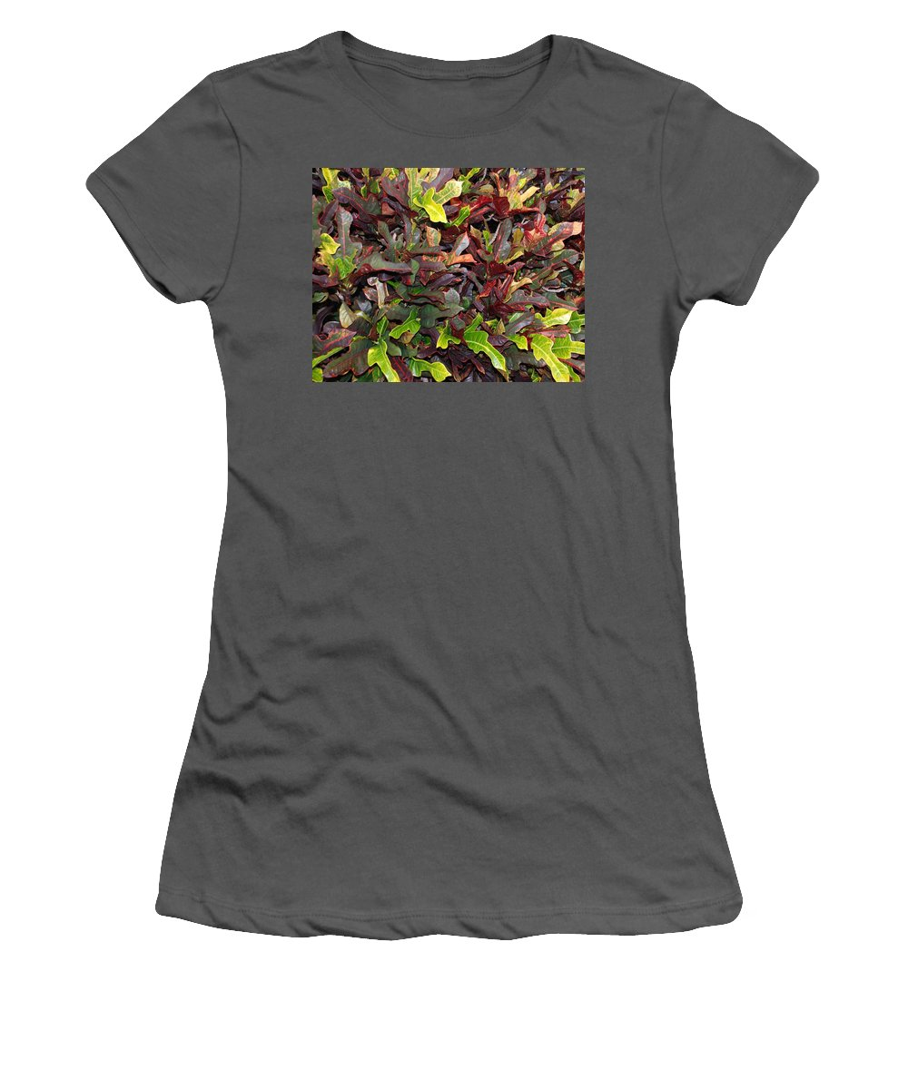 Macro Women's T-Shirt (Athletic Fit) featuring the photograph Red Green Leaves by Rob Hans