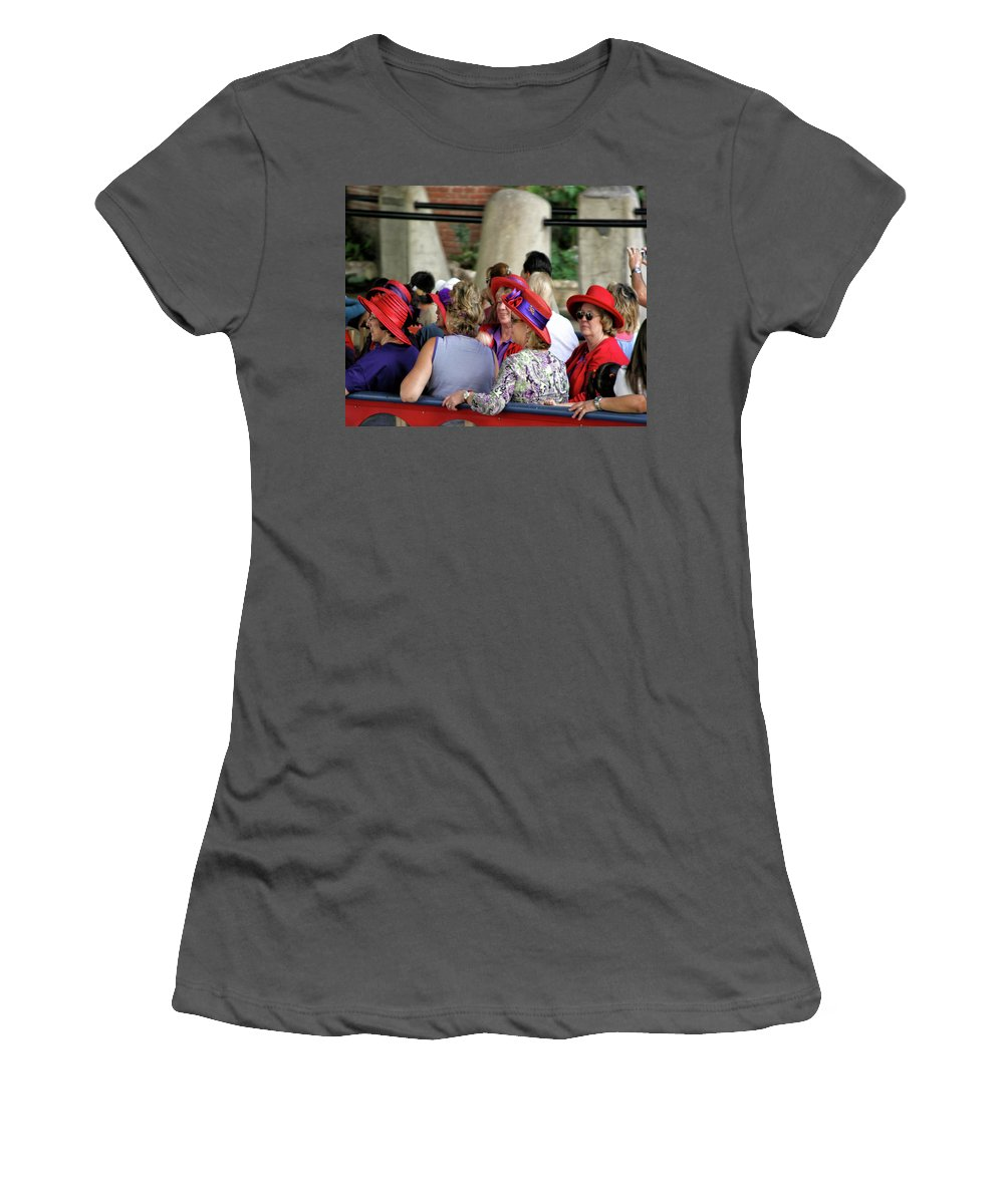 Red Hat Women's T-Shirt (Athletic Fit) featuring the photograph Red Hat Day by Darrell Mcgahhey