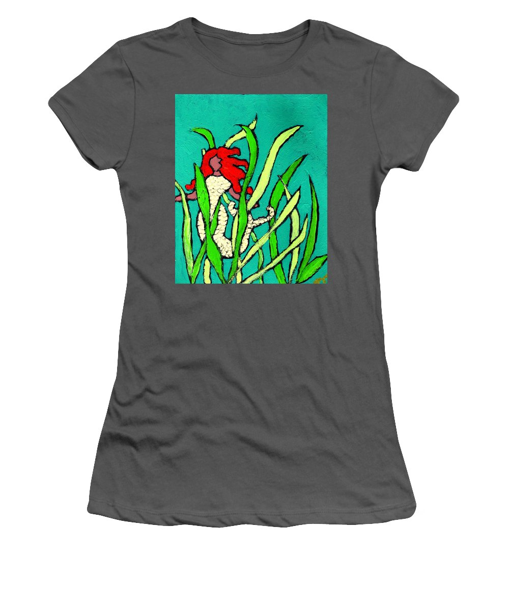 Mermaid Women's T-Shirt (Athletic Fit) featuring the painting Red Head Mermaid by Wayne Potrafka