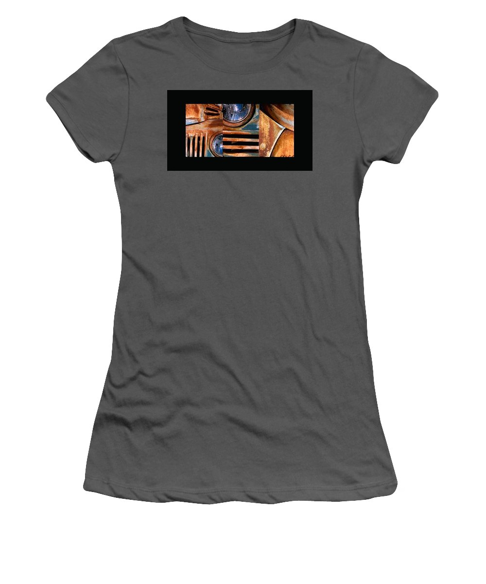 Abstract Photo Of Chevy Truck Women's T-Shirt (Athletic Fit) featuring the photograph Red Head On by Steve Karol