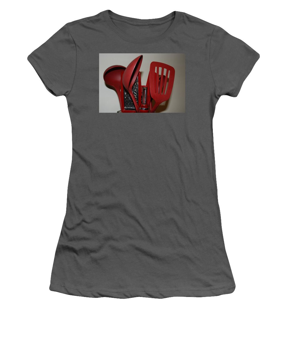 Utencils Women's T-Shirt (Athletic Fit) featuring the photograph Red Kitchen Utencils by Rob Hans