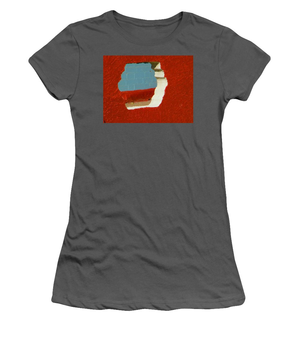 Abstract Women's T-Shirt (Athletic Fit) featuring the photograph Red Porch Grey Wall by Lenore Senior