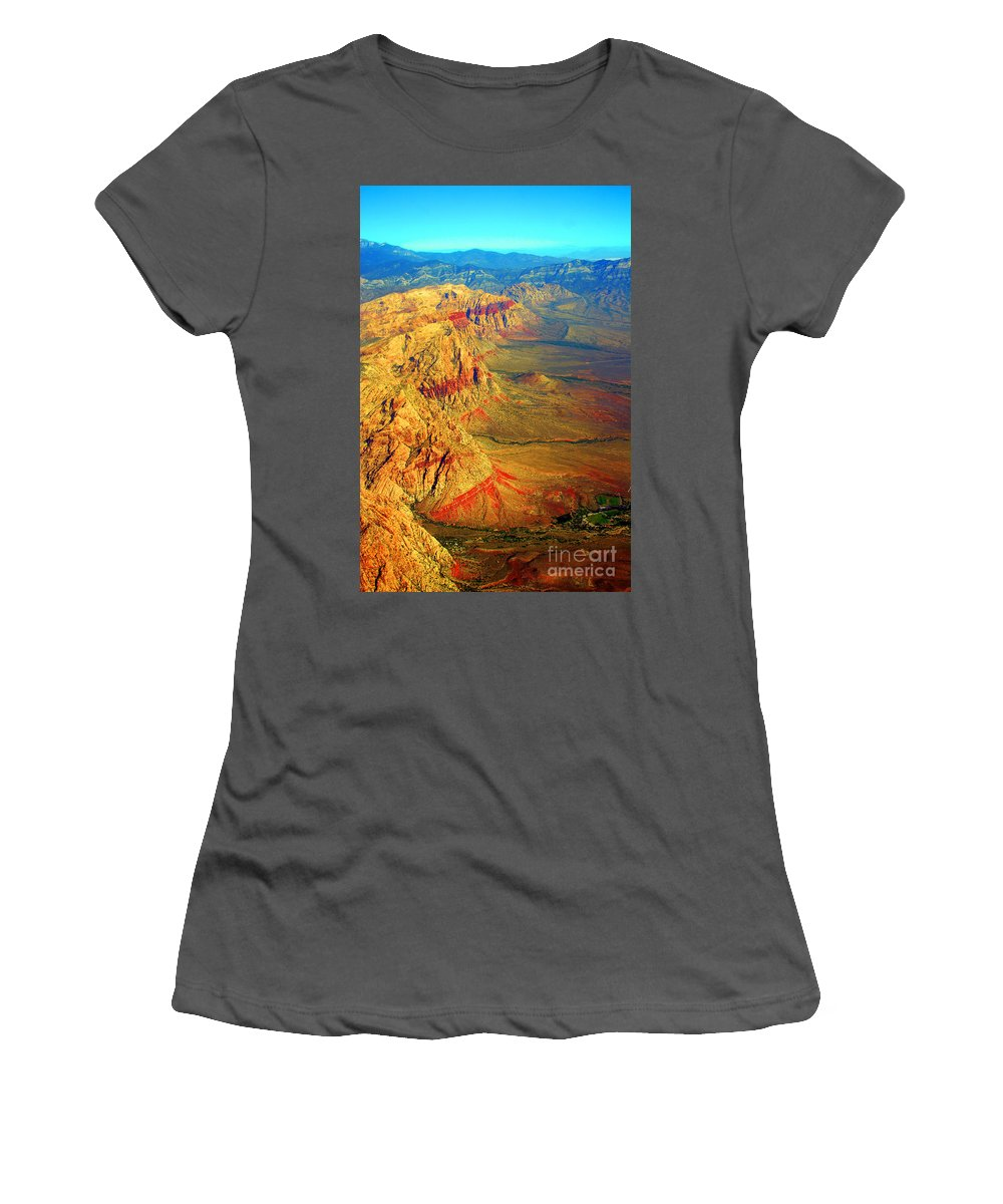 Red Rock Canyon Women's T-Shirt (Athletic Fit) featuring the photograph Red Rock Canyon Nevada Vertical Image by James BO Insogna