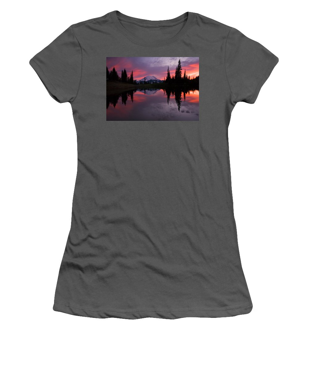 Rainier Women's T-Shirt (Athletic Fit) featuring the photograph Red Sky At Night by Mike Dawson
