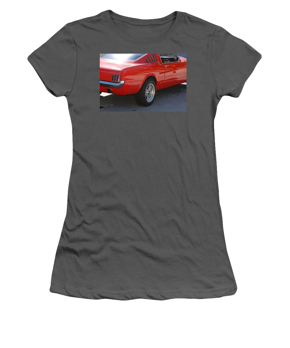 Ford Women's T-Shirt (Athletic Fit) featuring the photograph Red Stang by Rob Hans