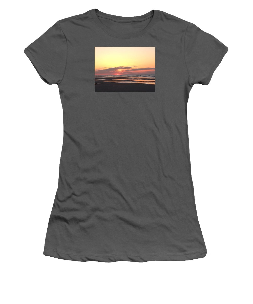 Myrtle Beach Women's T-Shirt (Athletic Fit) featuring the photograph Red Hazy Sunrise by Carol Anne Dillon