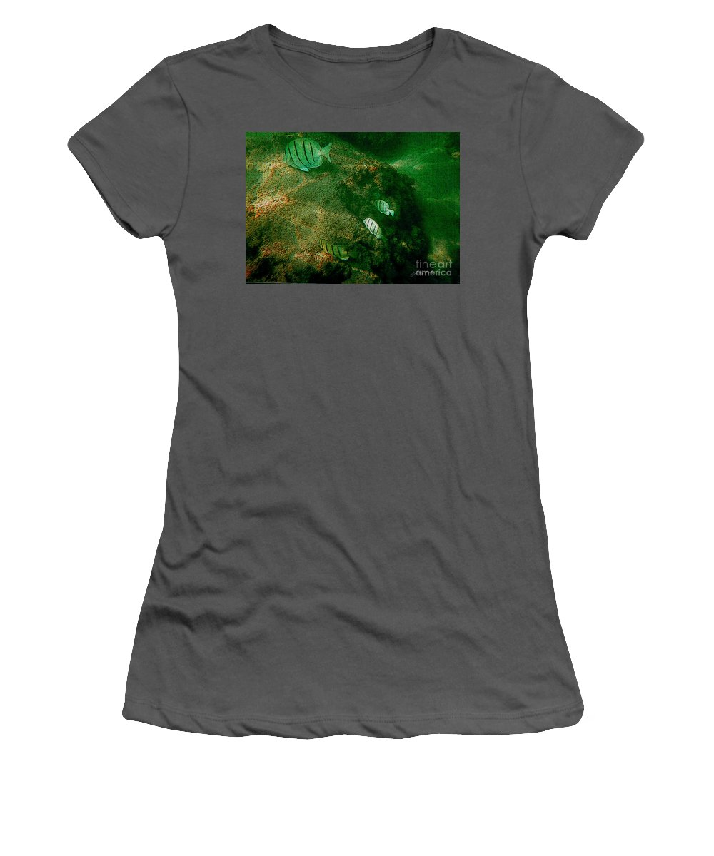Fish Women's T-Shirt (Athletic Fit) featuring the digital art Reef Life Off Hawaii by Tommy Anderson