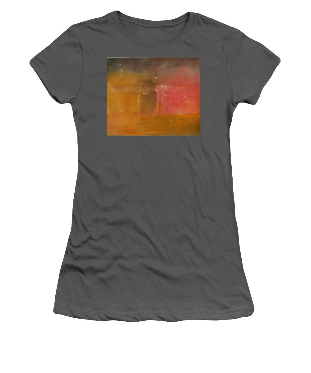 Storm Summer Red Yellow Gold Women's T-Shirt (Athletic Fit) featuring the painting Reflection Summer Storm by Jack Diamond