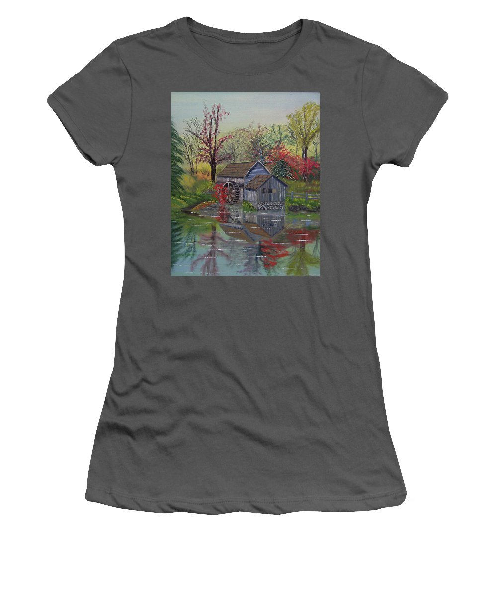 Waterwheel Women's T-Shirt (Athletic Fit) featuring the painting Reflections by Cathy Shepard
