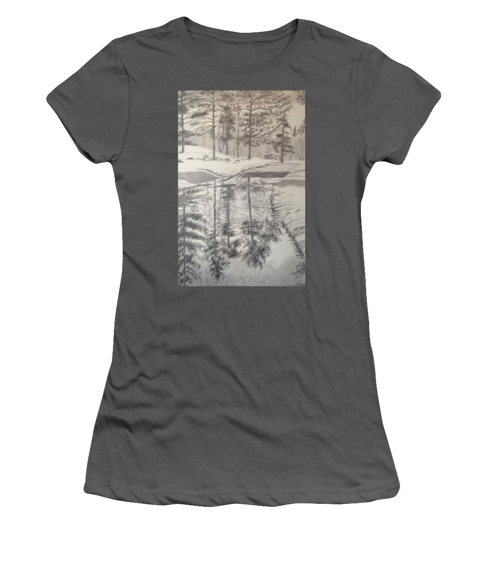 Reflection Women's T-Shirt (Athletic Fit) featuring the drawing Reflections 1 by Suzanne Fraker