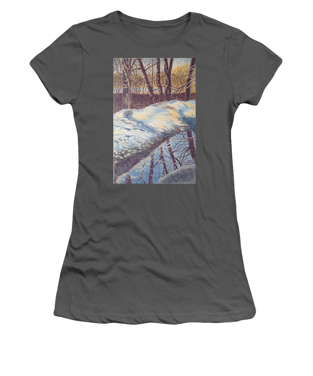Reflections Women's T-Shirt (Athletic Fit) featuring the drawing Reflections 2 by Suzanne Fraker