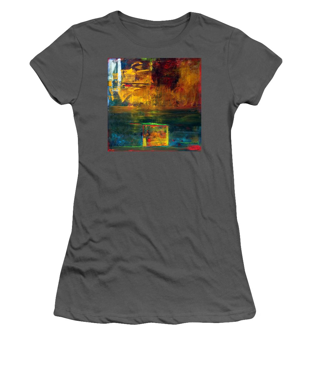 New York City Reflection Red Yellow Blue Green Women's T-Shirt (Athletic Fit) featuring the painting Reflections Of New York by Jack Diamond